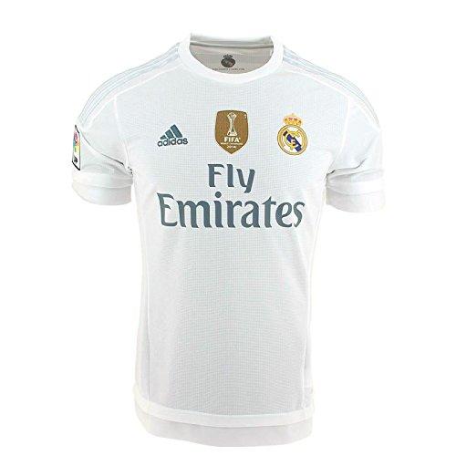 adidas 1ª Equipación Real Madrid CF 2015/2016 - Camiseta oficial con la insignia de campeón del mundo para hombre, color blanco, talla S
