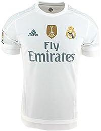 adidas 1ª Equipación Real Madrid CF 2015/2016 - Camiseta oficial con la insignia de campeón del mundo para hombre, color blanco, talla XL