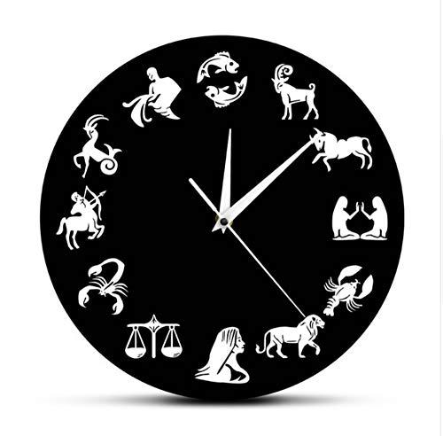 Astrologia arte orologio da parete segni zodiacali camera da letto nuesery decorazioni da parete orologio da parete moderno segno zodiacale orologio orologio regalo nero 30x30cm