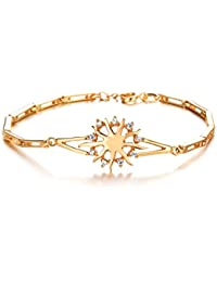 Cyan 18 K Gold Plated Cubic Zircon Sun Flower Charm Bracelet For Women