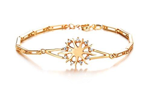 Cyan 18 K Gold Plated Cubic Zircon Sun Flower Charm Bracelet For Women