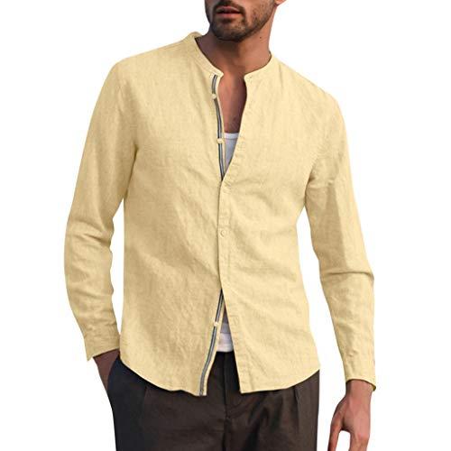 Realde Herren Langarm Hemd T-Shirt Freizeit Baumwolle und Leinen Knopf Herren Freizeit Langarmshirt Passt super auch zur Jeans Männer BequemTops Oberteil Größe M-XXXL (Jeans Aeropostale Männer)
