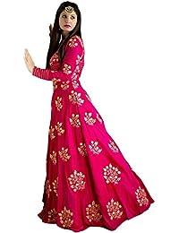 Peachmode Women's Pink Cotton Silk Semi Stitched Gown