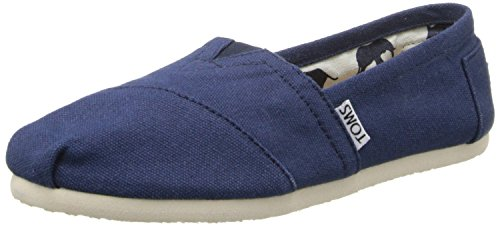 Toms Classic Navy White Womens Canvas Espadrille Shoes Slipons-5