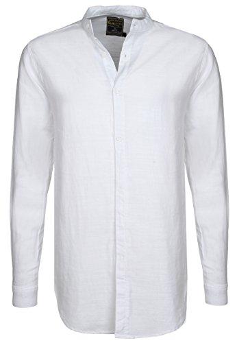 Sublevel camicia da uomo a manica lunga con colletto alla coreana | camicia business basic in cotone con vestibilità regolare bianco m