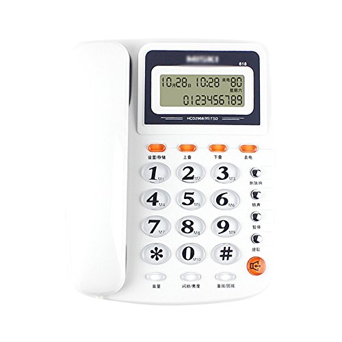 SAN_X Retro Telefon Telefon Fester Telefon Anrufer Identifikation-Geschäft Batterie-freier Blitzschutz Hauptbürogeldleitung Größe 214 * 207 * 70mm (Color : Weiß)