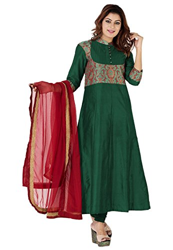 Utsav Fashion Woven Yoke Cotton Silk and Brocade Anarkali Suit in Dark...