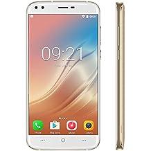 DOOGEE X30 - 5.5 '' Pantalla HD Android 7.0 3G Smartphone, cámaras traseras dobles + cámaras delanteras dobles (5MP + 5MP + 8MP + 8MP), 1.3GHz Quad Core CPU con 2GB RAM ROM de 16GB, 3360mAh Oro