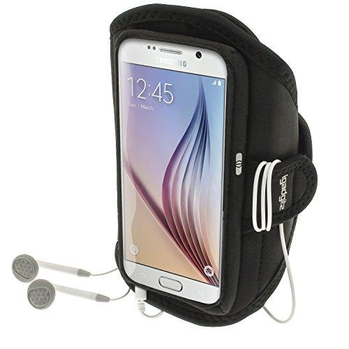 Vertragsverlängerung (igadgitz Wasserabweisend Schwarz Sports Jogging Armband Laufen Fitness Oberarmtasche für Samsung Galaxy S6 SM-G920 & S7 SM-G930)
