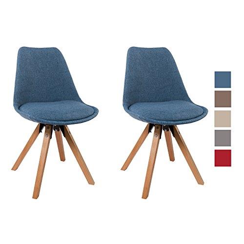 Stuhl Esszimmerstühle Grau Küchenstühle !2 er Set! FARBAUSWAHL mit Holzbeinen Sitzkissen Esszimmerstuhl RETRO Stoffbezug TYP9-518EM