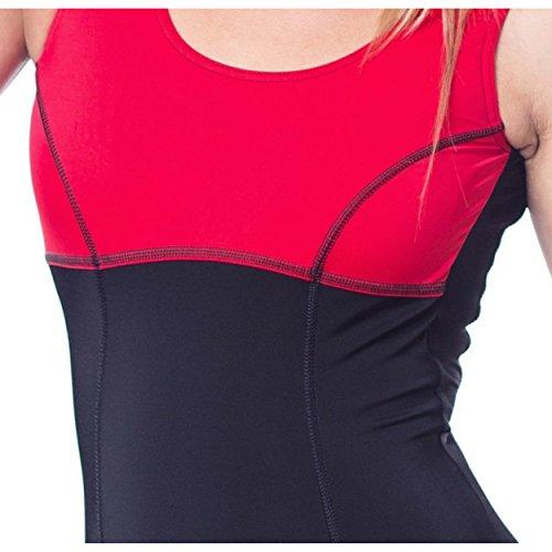 f582326a0cff Aquarti Damen Badeanzug mit Bein Tiefer Rückenausschnitt Schwarz   Rot