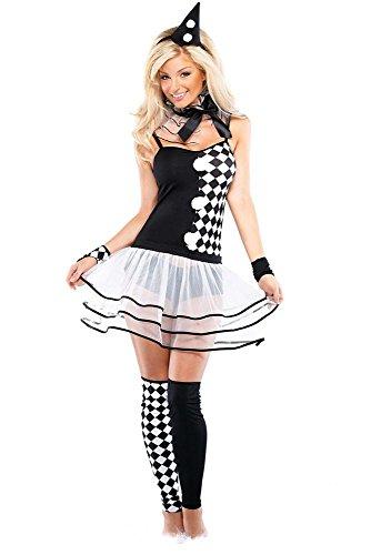 stüm Harlequin Clown - Damen - 6-teiliges Set - Kleid, Armstulpen, Beinstulpen, Slip, Halskrause, Haarreif - Karneval Fasching - schwarz / weiß - Größe XS-S (Mädchen Harlekin Clown Kostüme)