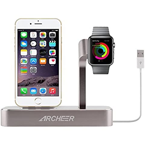 Archeer Apple Watch Stand 8 Pin Lightning Charge Station Supporto per Ricarica di iPhone ( 2 in 1 Stand INCLUSO Cavo di Ricarica Per iphone ) Costruito con qualitá Premium di Alluminio per Apple Watch 38mm/ 42mm &iPhone (5/ 5S/ 6/ 6s/6s Plus) Colore