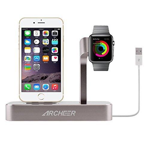 ARCHEER 2 in 1 Charge Ladestation für iWatch Multifunktionelle Aluminium Halterung für Apple Watch Series 2 / Series 1 / Nike+ und iPhone 6 Plus, iPhone 6s Plus, iPhone 6, iPhone 6s, iPhone 7, iPhone 7 Plus, iPhone 5, iPhone5s, iPhone SE (Mit eine iPhone Ladekabel) – Grau