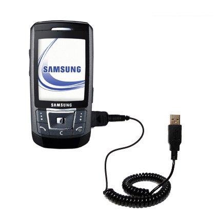 Aufgewickeltes Hot-Synk USB-Kabel für Samsung SGH-D870 mit den Funktionen Datentransfer und Aufladen Mit TipExchange Technologie ausgerüstet