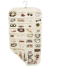 GYMNLJY 80 griglia tessuto bifacciale PVC appeso gioielli deposito Bag per la casa forniture Organizer(pack of 2) , beige