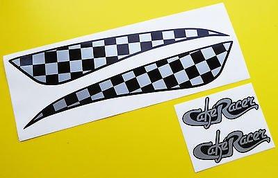 CAFE RACER stil SILBER SCHACHBRETTMUSTER TANK AUFKLEBER STICKER SET inklusive logo