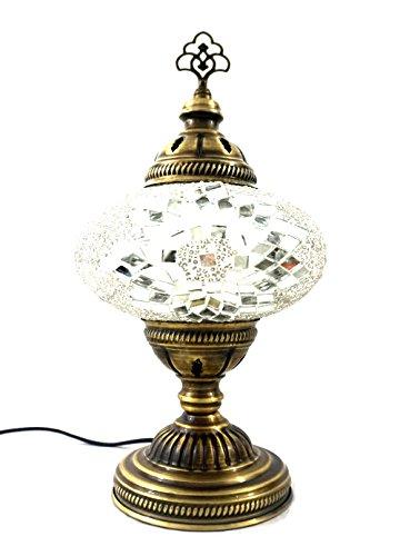 Handgefertigte Orientalisch Türkisch Asiatisch Mosaik Tisch Lampe Innenleuchte Nachttischlampe Beistelllampe Handarbeit Mosaik Glas Tischlampe Glasgröße 3 (Silber-Stern)