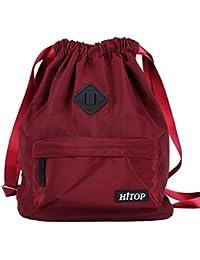 HITOP Bolsa de deporte impermeable con cordón, mochila ligera para hombres y mujeres, rojo vino