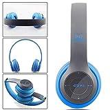 Wallfire P47 Drahtlose Bluetooth Turbine Hurricane Sports Kopfhörer Mikrofon Tragbares Stereo FM Headset (Color : Blau)