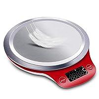 ميزان مطبخ رقمي بصينية كبيرة مصنوع من الستانلس ستيل (5000 غرام × 1 غرام)، جهاز قياس وزن ذو قياس دقيق، ميزان الكتروني منزلي