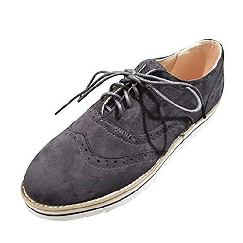 more photos 0a5c9 48820 Zapatos Oxford Mujer Casual Derby Cordones Calzado Plano Vestir Brogue  Primavera Verano Casual Uniforme Trabajo Sneaker