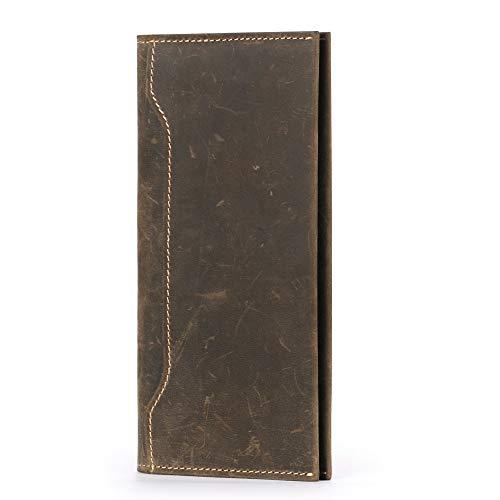 AIM Leder Lange Geldbörse für Männer Brieftasche Schlanke Handtasche Reißverschlusstasche Unterarmtasche Telefon Kartenhalter RFID-Blockierung -