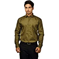 ND-Classic Cotton Linen Gold Accent Formal Shirt for Men's and Boys for Office Wear / Parties / Family Functions and Special Events (Large)