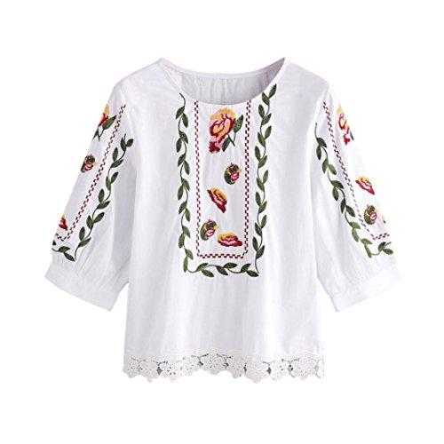 Spitze Blumen Tops, Yogogo Gedruckte Bluse Casual Tops Loose T-Shirt für  Damen Weiß