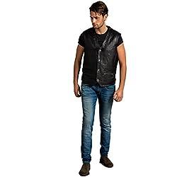Urban Leather Billy–Chaleco de piel hombre, Negro