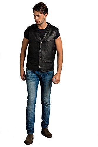 Urban Leather Billy-Chaleco de piel hombre, Negro