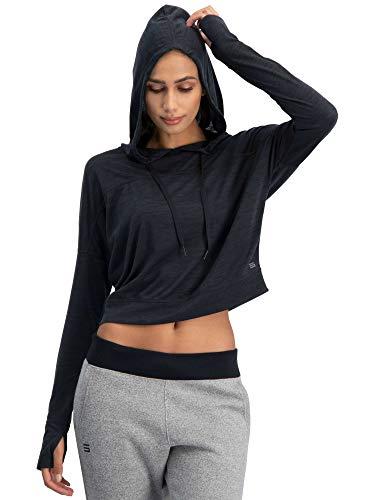 Jolt Gear Dry Fit Crop Tops für Frauen - Langarm Crop Top Hoodie - Damen Workout Pullover Top mit Daumenlöchern, Damen, Jet Black, Large