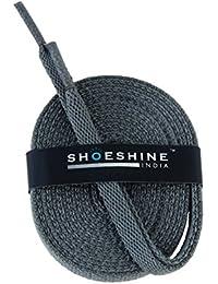 Shoeshine India grey sport shoe lace flat shoelace (Set of 2 Pairs) Size S-120cm & 7mm W