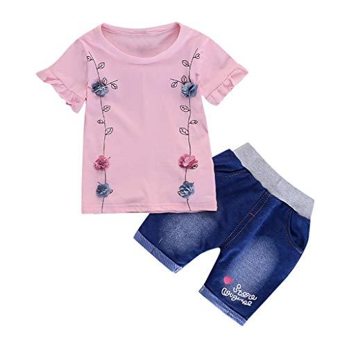 Infant Baby Girl Solid Flower T Shirt Print Letter Denim Shorts 2PC Sets Outfits (Baby Geschwister Kostüm)