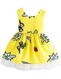 Vestidos niñas, Switchali Niños Bebé Niña Verano moda sin Mangas bowknot vestido encaje floral Tutú vestidos de dama de ninas ropa de fiesta para chica casual linda algodón falda
