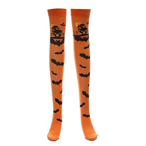 lay weiche Strümpfe über Kniestrümpfe Bat Pattern lange Strümpfe für Frauen Mädchen (Orange) (Custome Halloween Kind)