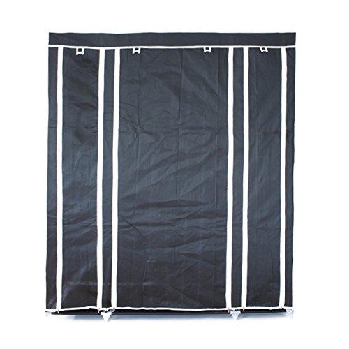 ECD Germany XXL Stoffschrank - aus Vliesgewebe - 150 x 45 x 175cm - Schwarz - Faltschrank - Kleiderschrank