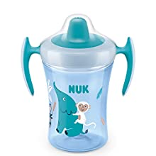 NUK Trainer Cup Sippy Cup | Leak-Proof Soft Drinking Spout | 6+ Months | BPA-Free | 230ml | Elephant (Turquoise) | 1 Count