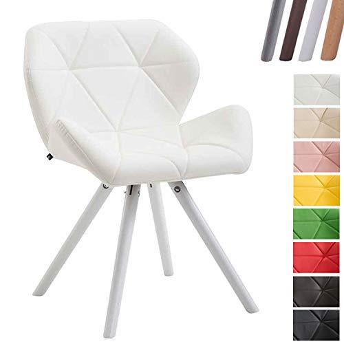 Clp sedia design rétro tyler imbottita in similpelle - poltroncina deco gambe tonde e telaio in legno di faggio i sedia visitatore con schienale i portata max 125 kg bianco bianco