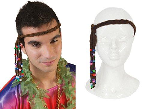 ,Karneval Klamotten' Kostüm Stirnband Hippie Perlen Zubehör 60er Jahre Flower Power Karneval