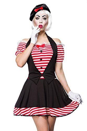 Atixo Sexy Mime Kostümset - schwarz/rot/weiß, Größe (Kostüm Mimi)