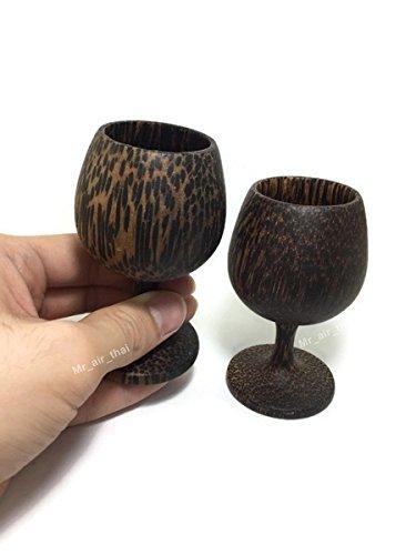 Schnapsglas Shot Set 2Rotweingläser Weiß Rot Wein Halter Holz handgefertigt (Palmen Holz) -