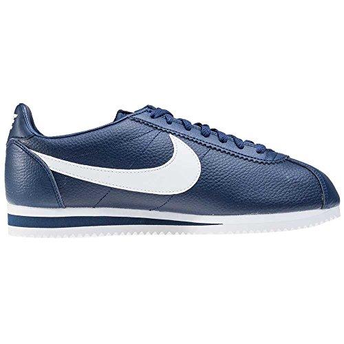 Nike Classic Cortez Leather, Chaussures de Running Entrainement Homme, Blanc, 45 EU Bleu (bleu marine minuit / blanc)