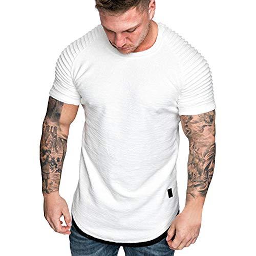iYmitz Sommer Herren Kurzarm T-Shirts Sport Falten Schlank Fit Raglan Tops Solide Beiläufige Oberteil Männer Baumwolle Sporttop(Weiß,EU-46/CN-3XL