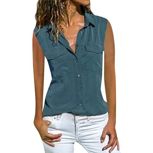 Momoxi Damen Casual Feste ärmellose drehen unten Kragen-Taschen Knopf-Front-Hemd-Oberseiten,2019 Sommer Bluse ärmellos Fashion Partytop Blau L