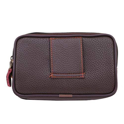 Kissherely pu-leder männer handytasche beutel multifunktionale kleine taille packtasche business brieftasche geldbörse (braun)