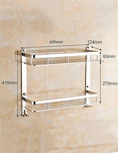 LIUYU Extrem Feste Duschregal Space Shelf Wc Regale Wandmontiert mit Haken Badezimmer Racks Kosmetik Rahmen für Qualität (Farbe: 1, Größe: 60Cm),60cm, 2 (Raum Anzug Zum Verkauf)