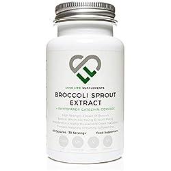 Brokkolisprossen-Extrakt + Phytofare®-Grüntee-Extrakt von LLS | Enthält aktiviertes Sulforaphan | 60 Kapseln | 12.500 mg Gesamtpflanzenäquivalent pro Umhüllung | Starker Antioxidansgehalt