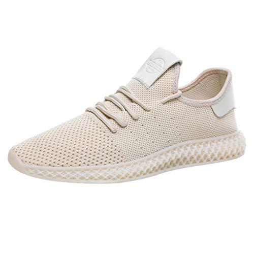 Sneakers Scarpe da Corsa da Tennis da Lavoro ultraleggere e Leggere, Scarpe da Tennis in Tinta Unita abbinate a Scarpe da Ginnastica Traspiranti Casual da Uomo (39 EU,Beige)