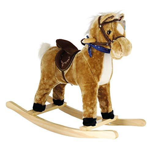 Bieco 74000900 - Plüsch Schaukeltier Reitpferdchen Hazel, Schaukelpferd mit Galoppgeräuschen und Wiehern, Pferd bewegt Maul und Schweif, Schaukel und Reitpferd für Babys und Kleinkinder ab 9m+